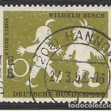 Sellos: ALEMANIA - FEDERAL - FRG - 1958 - CUENTO DE WILHELM BUSCH - MAX Y MORITZ - MICHEL 281 - USADO. Lote 189592470