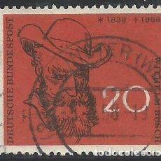 Sellos: ALEMANIA - FEDERAL - FRG - 1958 - RETRATO DE WILHELM BUSCH - MICHEL 282 - USADO. Lote 189592607