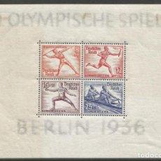 Sellos: ALEMANIA - BLOQUE Nº 6 OLIMPIADA DE 1936 EN BERLIN - NUEVO PERO CON MANCHAS DE FIJASELLOS. Lote 190388660