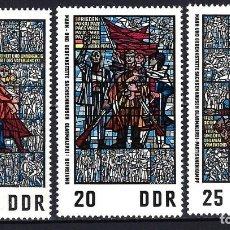 Timbres: 1968 ALEMANIA ORIENTAL DDR MICHEL 1346/1348 YVERT 1042/1044 MNH** VIDRIERAS MUSEO RESISTENCIA. Lote 190994105