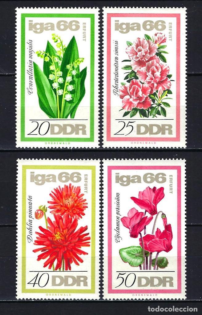 1966 ALEMANIA ORIENTAL DDR MICHEL 1189/1192 YVERT 895/898 MNH** FLORES (Sellos - Extranjero - Europa - Alemania)