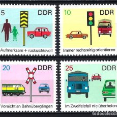 Sellos: 1969 ALEMANIA ORIENTAL DDR MICHEL 1444/1447 YVERT 1140/1143 MNH** AUTOMÓVILES COCHES TRÁFICO. Lote 191301406