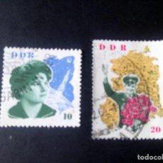 Sellos: ALEMANIA, REPÚBLICA DEMOCRÁTICA, RDA, DDR, 1963, ESPACIO, COSMONAUTAS TARESCHKOWA Y GAGARIN. Lote 192413161