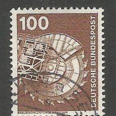 Sellos: ALEMANIA - FEDERAL - 1 MARCO - SERIE DE TÉCNICA - 2 JUNTOS, EXCAVADORA DE TRANSPORTE CARBÓN MARRÓN. Lote 193070808