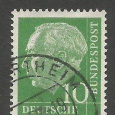 Sellos: ALEMANIA - FEDERAL - 10 PFENNIG - SERIE DE THEODOR HEUSS 1954 - MI 183 - 2 JUNTOS - USADOS. Lote 193073203
