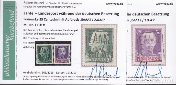 ZANTE, 1943 MICHEL Nº 2, 3, , CERTIFICADO ROBERT BRUNEL, OCUPACIÓN ALEMANA, (Sellos - Extranjero - Europa - Alemania)