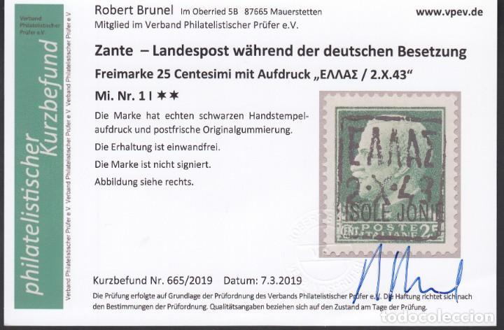 Sellos: ZANTE, 1943 Michel Nº 2, 3, , Certificado Robert Brunel, Ocupación Alemana, - Foto 4 - 194637246