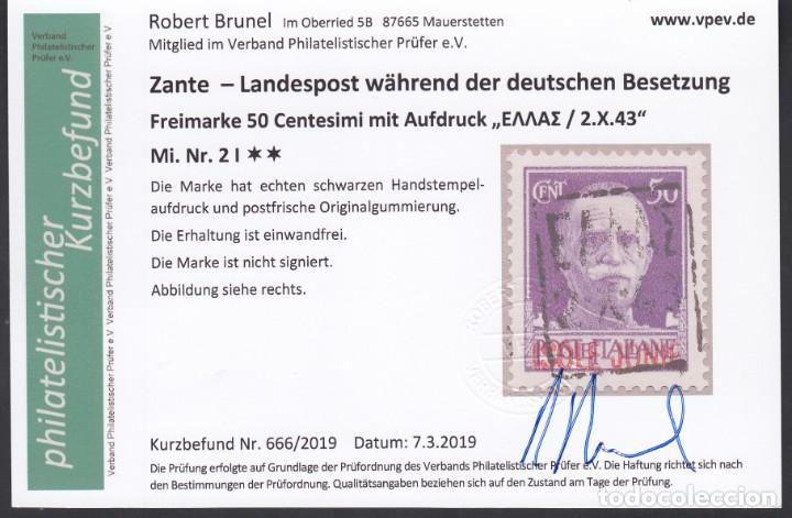 Sellos: ZANTE, 1943 Michel Nº 2, 3, , Certificado Robert Brunel, Ocupación Alemana, - Foto 5 - 194637246