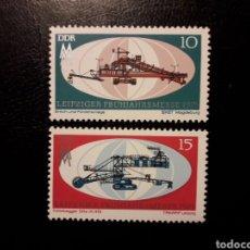 Sellos: ALEMANIA ORIENTAL DDR. YVERT 1343/4 SERIE COMPLETA NUEVA ***. FERIA DE LEIPZIG. MAQUINARIA.. Lote 194725280