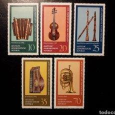 Sellos: ALEMANIA ORIENTAL DDR. YVERT 1900/04 SERIE COMPLETA NUEVA ***. MÚSICA. INSTRUMENTOS MUSICALES. Lote 194727393
