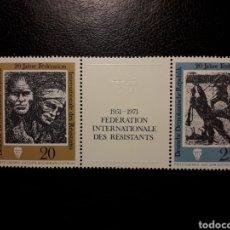 Sellos: ALEMANIA ORIENTAL DDR. YVERT 1376/7 (1377A) SERIE CTA NUEVA ***. RESISTENCIA SEGUNDA GUERRA MUNDIAL. Lote 195059778