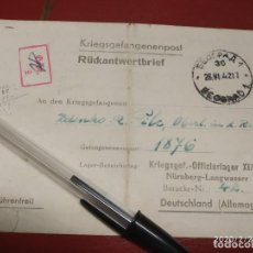 Sellos: OFLAG XIII B CAMPO DE OFICIALES LANGWASER NUREMBERG 1942 WWII SEGUNDA GUERRA MUNDIAL. Lote 195255293