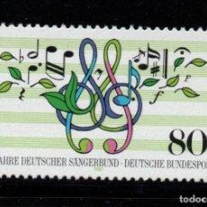 Sellos: ALEMANIA 1151** - AÑO 1987 - MUSICA - 125º ANIVERSARIO DE LAS SOCIEDADES CORALES ALEMANAS. Lote 195305885