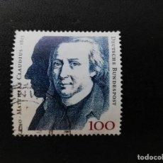 Sellos: ALEMANIA 1990. MATTHIAS CLAUDIUS (WRITER). MI:DE 1473, SN:DE 1611, YT:DE 1305. Lote 195337482