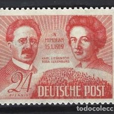 Selos: ALEMANIA 1949 - ZONA SOVIÉTICA - KARL LIEBKNETCH Y ROSA LUXEMBURG - SELLO NUEVO **. Lote 195381901