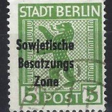 Selos: ALEMANIA 1948 - SELLOS DE BERLÍN, SOBRECARGADO SOWJETISCHE BESATZUNGS ZONE - SELLO USADO. Lote 195384855