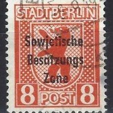 Selos: ALEMANIA 1948 - SELLOS DE BERLÍN, SOBRECARGADO SOWJETISCHE BESATZUNGS ZONE - SELLO USADO. Lote 195384903