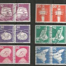 Sellos: ALEMANIA - FEDERAL - 1975 - 76 - SERIE TÉCNICA 10 - 70 PFG, 6 PAREJAS UTILIZADAS JUNTAS. Lote 195656586
