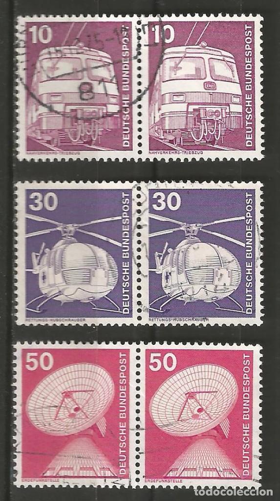 Sellos: ALEMANIA - FEDERAL - 1975 - 76 - SERIE TÉCNICA 10 - 70 PFG, 6 PAREJAS UTILIZADAS JUNTAS - Foto 2 - 195656586
