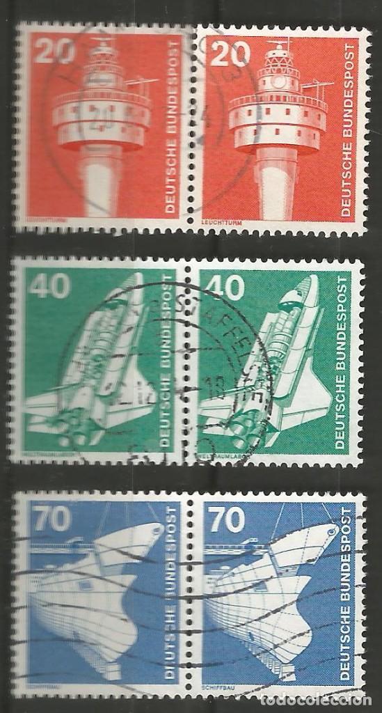 Sellos: ALEMANIA - FEDERAL - 1975 - 76 - SERIE TÉCNICA 10 - 70 PFG, 6 PAREJAS UTILIZADAS JUNTAS - Foto 3 - 195656586