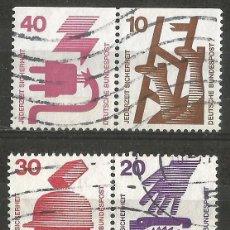 Sellos: ALEMANIA - FEDERAL - 1974 - SERIE SEGURIDAD DE TRABAJO, 2 PAREJAS UTILIZADAS JUNTAS DE UN CARNET. Lote 195657966