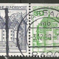 Francobolli: ALEMANIA - FEDERAL - 1978 - 80 - SERIE CASAS - 2 SELLOS DIFERENTES JUNTOS DE UN CARNET. Lote 195676603