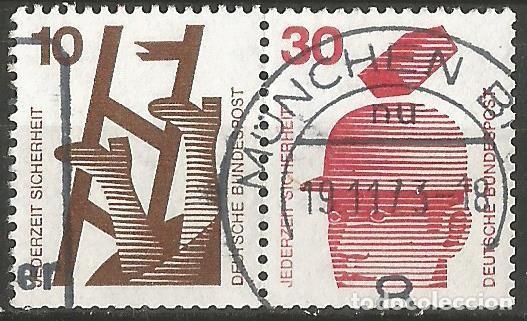 ALEMANIA - FEDERAL - 1974 - SERIE SEGURIDAD DE TRABAJO - 2 SELLOS DIFERENTES JUNTOS DE UN CARNET (Sellos - Extranjero - Europa - Alemania)