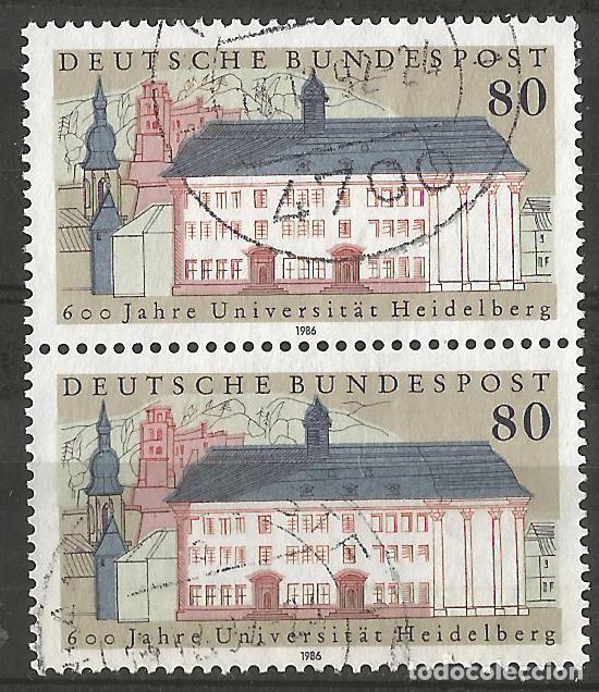 ALEMANIA - FEDERAL - 1986 - 600 ANIV. DE UNIVERSIDAD HEIDELBERG - 2 SELLOS JUNTOS - USADOS (Sellos - Extranjero - Europa - Alemania)