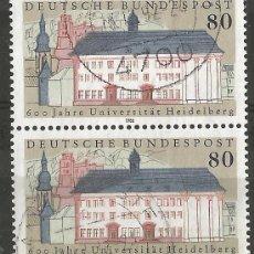 Francobolli: ALEMANIA - FEDERAL - 1986 - 600 ANIV. DE UNIVERSIDAD HEIDELBERG - 2 SELLOS JUNTOS - USADOS. Lote 195728053