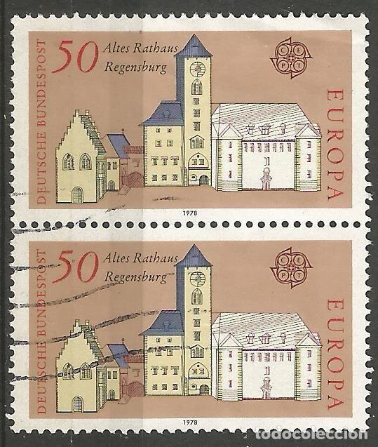 ALEMANIA - FEDERAL - 1978 - CEPT - AYUNTAMIENTO DE REGENSBURGO - 2 SELLOS JUNTOS - USADOS (Sellos - Extranjero - Europa - Alemania)