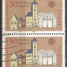 Francobolli: ALEMANIA - FEDERAL - 1978 - CEPT - AYUNTAMIENTO DE REGENSBURGO - 2 SELLOS JUNTOS - USADOS. Lote 195764165