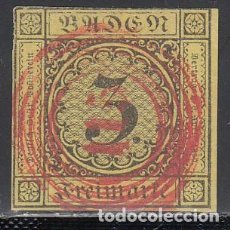 Sellos: BADEN, 1851 YVERT Nº 2, MATASELLOS NUMERAL 115 EN ROJO . Lote 196293418