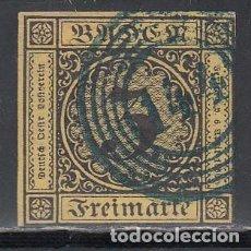 Sellos: BADEN, 1851 YVERT Nº 2 A AMARILLO OSCURO, MATASELLOS NUMERAL 144 EN AZUL . Lote 196294111