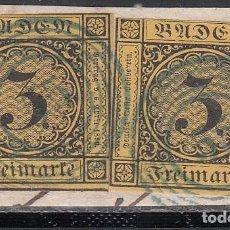 Sellos: BADEN, 1851 YVERT Nº 2 A AMARILLO OSCURO, MATASELLOS NUMERAL 55 EN AZUL . Lote 196294226