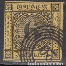 Sellos: BADEN, 1851 YVERT Nº 2 A AMARILLO OSCURO, MATASELLOS NUMERAL 20. Lote 196294542