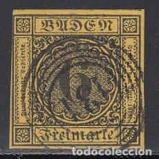 Sellos: BADEN, 1851 YVERT Nº 2 A AMARILLO OSCURO, MATASELLOS NUMERAL 139. Lote 196294617