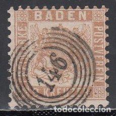Sellos: BADEN, 1862 YVERT Nº 19 A, MARRÓN PÁLIDO. Lote 196295801