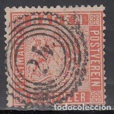 Sellos: BADEN, 1862 YVERT Nº 11 A, NARANJA, MATASELLOS CORONA DENTADA . Lote 196296955