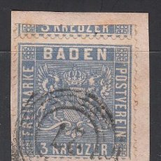 Sellos: BADEN, 1862 YVERT Nº 10 A, AZUL DE PRUSIA, . Lote 196297168