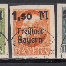 Sellos: BAVIERA, 1920 YVERT Nº 174 B / 176 B. SIN DENTAR . Lote 196304550