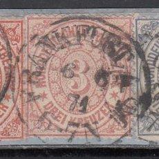 Sellos: ALEMANIA CONFEDERACIÓN DEL NORTE, 1871 YVERT Nº 8, 20, 21, MATASELLOS TOUR ET TAXIS, . Lote 196343070