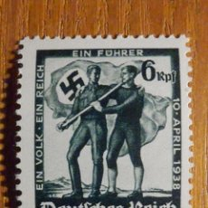 Sellos: SELLO ALEMANIA TERCER DEUTCHE REICH - HITLER - NACIONAL SOCIALISMO ALEMÁN - 1938 - IVERT 606 . Lote 196378906