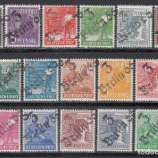 Sellos: ZONA SOVIÉTICA, OCUPACIÓN ALIADA, DISTRITO, *3 BERLIN 7* 1948 MICHEL Nº 166 / 181, SIN FIJASELLOS . Lote 197135273