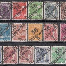 Sellos: ZONA SOVIÉTICA, OCUPACIÓN ALIADA, DISTRITO,*36 FINSTERWALDE* MICHEL Nº 166VII / 181VII, 179VII, . Lote 197164682