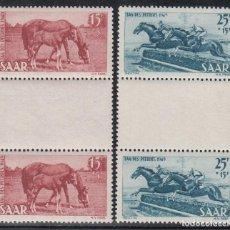 Sellos: SARRE, 1949 MICHEL Nº 265 Z / 266 Z /*/, PAREJA CON INTERPANEL CENTRAL, DÍA DEL CABALLO,. Lote 197480835