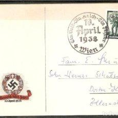 Sellos: ALEMANIA IMPERIO. TARJETA CONMEMORATIVA 10 APRIL 1938. FUSIÓN AUSTRIA Y ALEMANIA. Lote 199599758