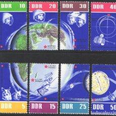 Sellos: ALEMANIA ORIENTAL, 1962 YVERT Nº 638 / 645 /**/, 60 ANIVERSARIO DEL VUELO ESPACIAL SOVIÉTICO. Lote 206295060