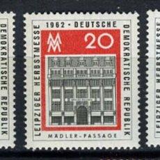 Sellos: ALEMANIA ORIENTAL,1962 YVERT Nº 626 / 628 /**/, FERIA DE OTOÑO DE LEIPZIG. Lote 206295900