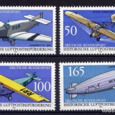 Francobolli: ALEMANIA FEDERAL, 1991 YVERT Nº 1354 / 1357 /**/, AVIONES / ZEPELINES. Lote 206948995