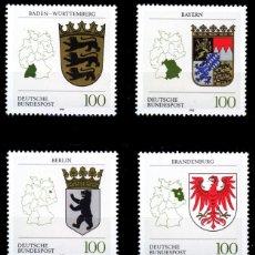 Francobolli: ALEMANIA FEDERAL, 1992 YVERT Nº 1418, 1429, 1448, 1452, 1457, 1462, ESCUDO DE ARMAS DE LOS ESTADOS. Lote 207038251